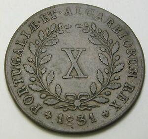 PORTUGAL 10 Reis 1831 - Copper - Miguel - F/VF - 1541