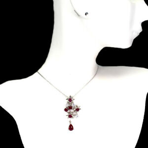 Pear Red Ruby 7x5mm Cubic Zirconia 925 Sterling Silver Necklace 18.5 Inches