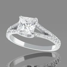 BLACK FRIDAY 1 CT F SI1 ENHANCED DIAMOND ENGAGEMENT RING PRINCESS 14K WHITE GOLD