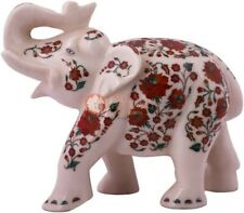 """12"""" White Collectible Elephant Statue Carnelian Floral Show Piece Christmas Gift"""