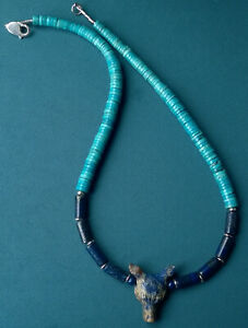 """WOLF NECKLACE 30""""  MOUNTAIN MAN STERLING SILVER LAPIS TURQUOISE"""