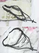 BLACK CROSS NECKLACE WITH 5 TIERED CHAINS