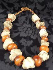 Chinese / Tibetan Buddhist Amber and Conch Shell Mala / Prayer Beads