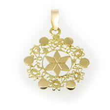 Ciondolo pendente lustrino sole filigrana in oro 750 artigianato sardo handmade