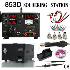 853D 3in1 SMD Soldering Iron Hot Air Gun Rework Station DC Power Supply Digital