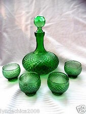 Vintage Green Glass Decanter and 4 matching galsses (8.5 INCHES)