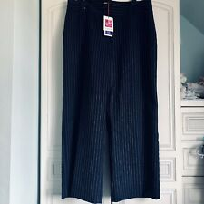 Ladies Navy And White Pinstripe Trousers Size 18 New With Tags
