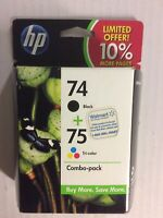HP 74+75 Ink Cartridges Black and Color Combo Pack  *EXPIRED 8/11