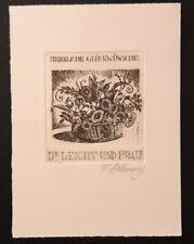 Exlibris P.F F. Lakomy für Dr. Leicht / Blumen