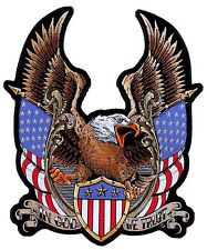 Large Patriotic American Bald Eagle Flags In God We Trust Mens Biker Patch