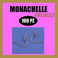 100x MONACHELLE BRONZO GANCI BASE PER ORECCHINI minuteria bigiotteria faidate NF