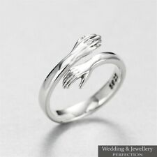 925 Sterling Silver Love Hug Ring Band Open Finger Fully Adjustable Jewelry New