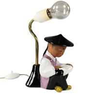 Carli Bauer Keramik Lampe Sitzender Lesener Chinese Keramik WKM Austria 50er alt