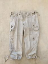 THE LIMITED DREW FIT KHAKI CARPENTER CAPRIS CROPPED TIES AT WAIST AND HEM 8