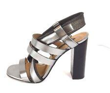 Modern Vintage Womens Strappy Heels 8 Gray Silver Metallic High Block Hand Made