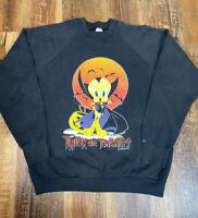 Vintage Tweety Bird Halloween Dracula Vampire Bats 90s Cartoon Sweatshirt XXL