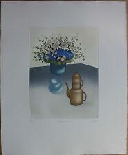 Gravure d' Elisabeth CLERGET nature morte bouquet La cafetière de Marie 1989