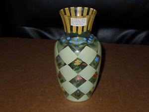 "Tracy Porter Hand Painted Glass Vase Floral Design 6-1/4"" Vintage 1995"