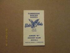 OHA Cambridge Winter Hawks Vintage 1983-84 JUNIOR B Hockey Logo Pocket Schedule