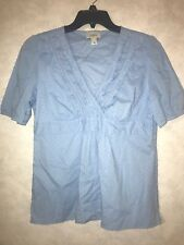 Ann Taylor LOFT Swiss Dot Blue Short Sleeve Ruffled Shirt Size 12 L