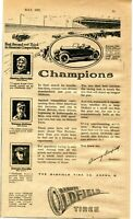 1921 small Print Ad of Barney Oldfield Tire Co. Gaston Chevrolet, Tommy Milton