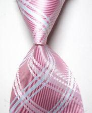Classic Plaid Men's Tie Pink White JACQUARD WOVEN Silk Ties Suits Necktie N133