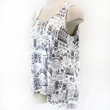 Cynthia Rowley Plus White/Black Venice Print Sleeveless Top 2X Spring Summer