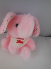 """Russ Berrie Pink Elephant Plush Rattle Baby Toy 5"""" Vintage Korea made First Love"""