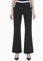 NWT Calvin Klein Women's Button-Trim Wide-Leg Dress Pants Black White size 4 $89