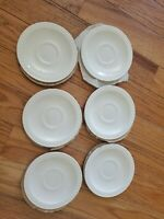 "Lot of 4 Centura by Corning Pyroceram White Embossed Tulip 6"" Saucers Restaurant"