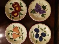 "Set of 4 Sonoma Lifestyle Dessert/Salad Plates, 4 Fruit Designs 8"" VERY NICE!"