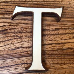 """Old Vintage Antique Copper With Cream Enamel Letter T - 4"""" Tall"""