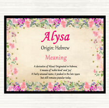 Alysa Name Meaning Dinner Table Placemat Floral