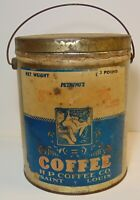 LARGE Rare Old Vintage 1930s SYCAMORE HP COFFEE TIN GRAPHIC 3 POUND TIN ST LOUIS