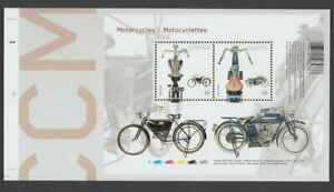 MOTORCYCLES =1914 INDIAN & 1908 CCM =S/S pos.5 fr UnCut sheet Canada 2013 #2646i