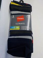 MENS SIZE 6-12 HANES ULTIMATE FRESH IQ CREW SOCKS 3 PACK NAVY GREY NEW #11565