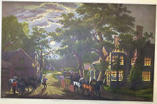 Wayside Inn Full Moon Coach Buggy Horses 1952 Color Lithograph Currier Ives