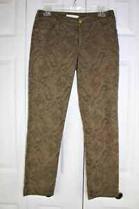 Womens  Chicos Size 00 Military green Jacquard print Jean style pants