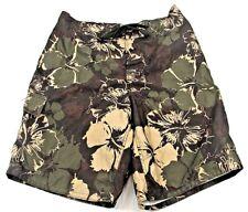 OP Men's Swim Trunks, Olive Green Tropical Floral Design, Size: Medium 32 -34