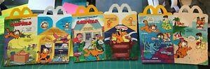 Mc DONALD'S HAPPY MEAL BOX Set of 3 Different - GARFIELD 1989 Unused