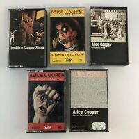 Lot of 5 Different Alice Cooper Cassette Tapes - Greatest Hits + 4 more