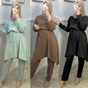 Muslim Women Abaya Dress Blouse Pants Set 2 Piece Jilbab Islamic Kaftan Robe