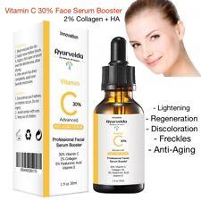 Advanced Face Serum Vitamin C 30%+ 2%Collagen+5% Hyaluronic-Organic-Derma Roller