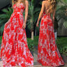 Womens Summer Floral Maxi Dress Ladies Beach Holiday Party Long Dresses Sundress
