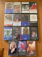 LOT OF 15 Country Music Cassettes pre-owned Dolly Parton Kenny Rogers Oak Ridge