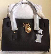 NWT MICHAEL KORS Hamilton E/W Medium Saffiano Leather Satchel Purse Black Gold