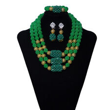 New Nigerian Wedding African Beads Jewelry Set Women Party Bridal Necklace Sets