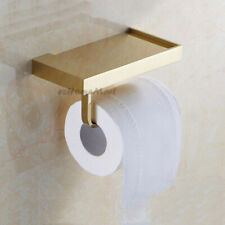 Gold Polished Bathroom Wall Mounted Toilet Paper Roll Holder Phone Shelf Rack