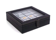 Executive Genuine Black Leather Cufflink Jewelry Case Box-Holds 20 Cufflinks