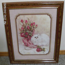 Homco Home Interiors Artist Julia Crainer Picture White Cat Pink Victorian Boot